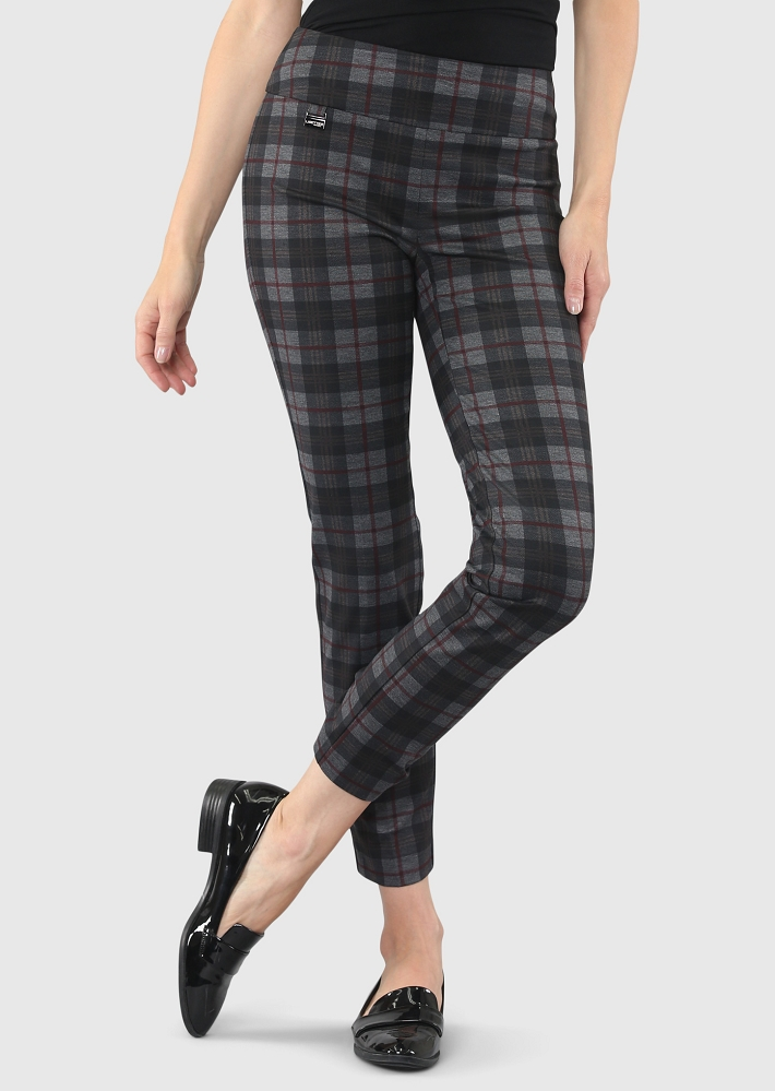 Lisette L. Slim Ankle Pants Style 44501 Scottis Print Plaid PDR Color Charcoal